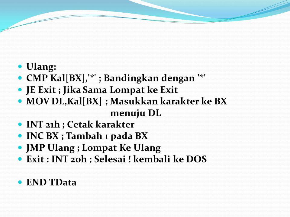Ulang: CMP Kal[BX], * ; Bandingkan dengan * JE Exit ; Jika Sama Lompat ke Exit. MOV DL,Kal[BX] ; Masukkan karakter ke BX.